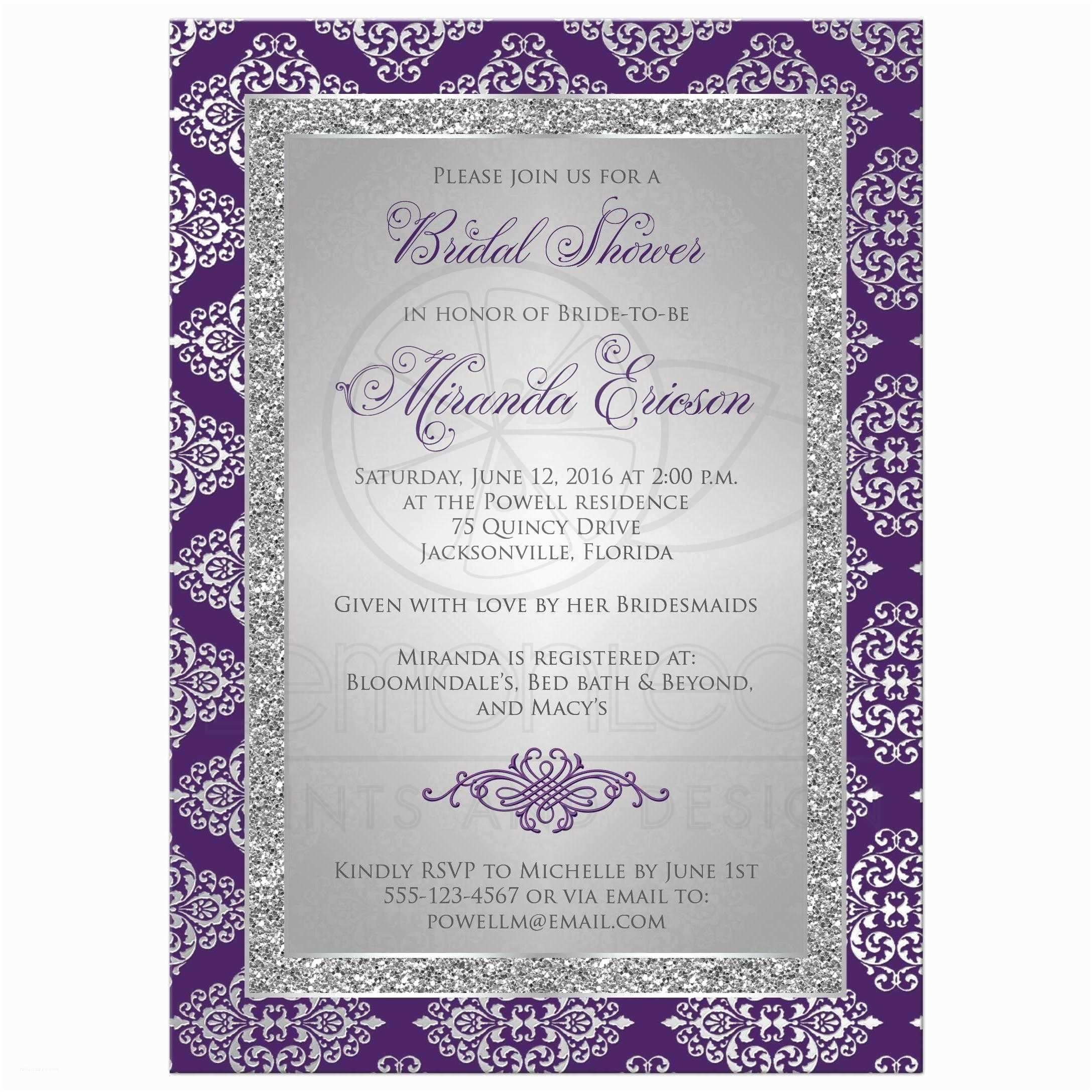 Purple Bridal Shower Invitations Bridal Shower Invitation