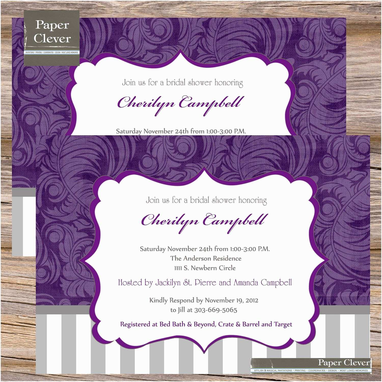Purple Bridal Shower Invitations Bridal Shower Invitations Purple Bridal Shower
