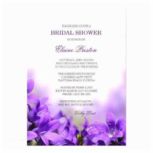 "Purple Bridal Shower Invitations Floral Bridal Shower Invitation with Purple Flower 5"" X 7"