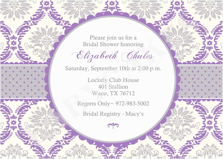 Purple Bridal Shower Invitations Items Similar to Purple Damask Bridal Shower Invitation