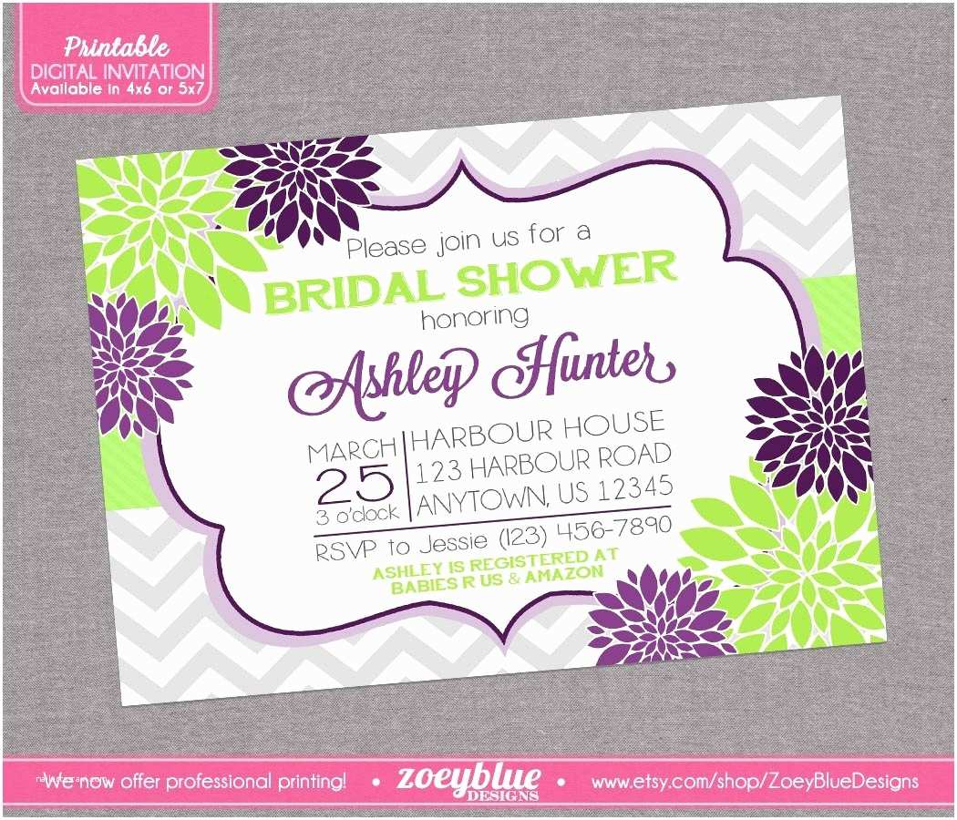Purple Bridal Shower Invitations Purple and Green Floral Bridal Shower Grey by Zoeybluedesigns