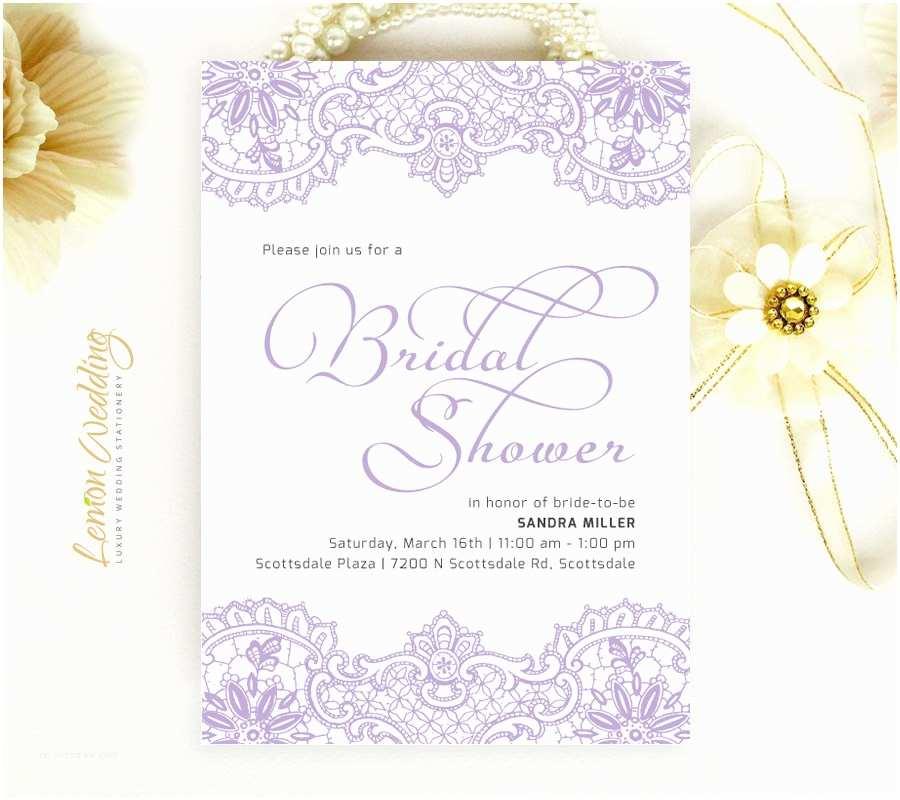 Purple Bridal Shower Invitations Purple Bridal Shower Invitations Elegant Lace Wedding Shower