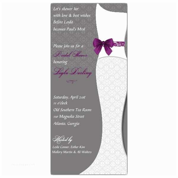 Purple Bridal Shower Invitations Purple Lacey Gown Bridal Shower Invitations