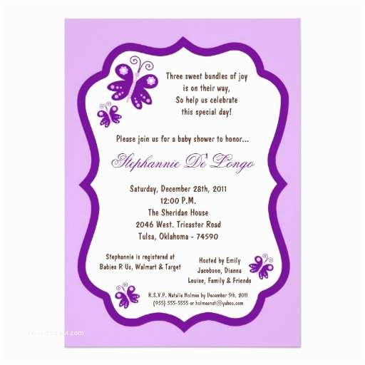 """Purple butterfly Baby Shower Invitations 5x7 Light Purple butterfly Baby Shower 5"""" X 7"""" Invitation"""