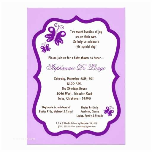 Purple butterfly Baby Shower Invitations 5x7 Light Purple butterfly Baby Shower Personalized