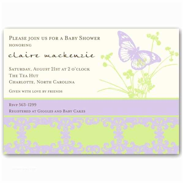 Purple butterfly Baby Shower Invitations Baby Shower butterfly Pattern Purple Invitations