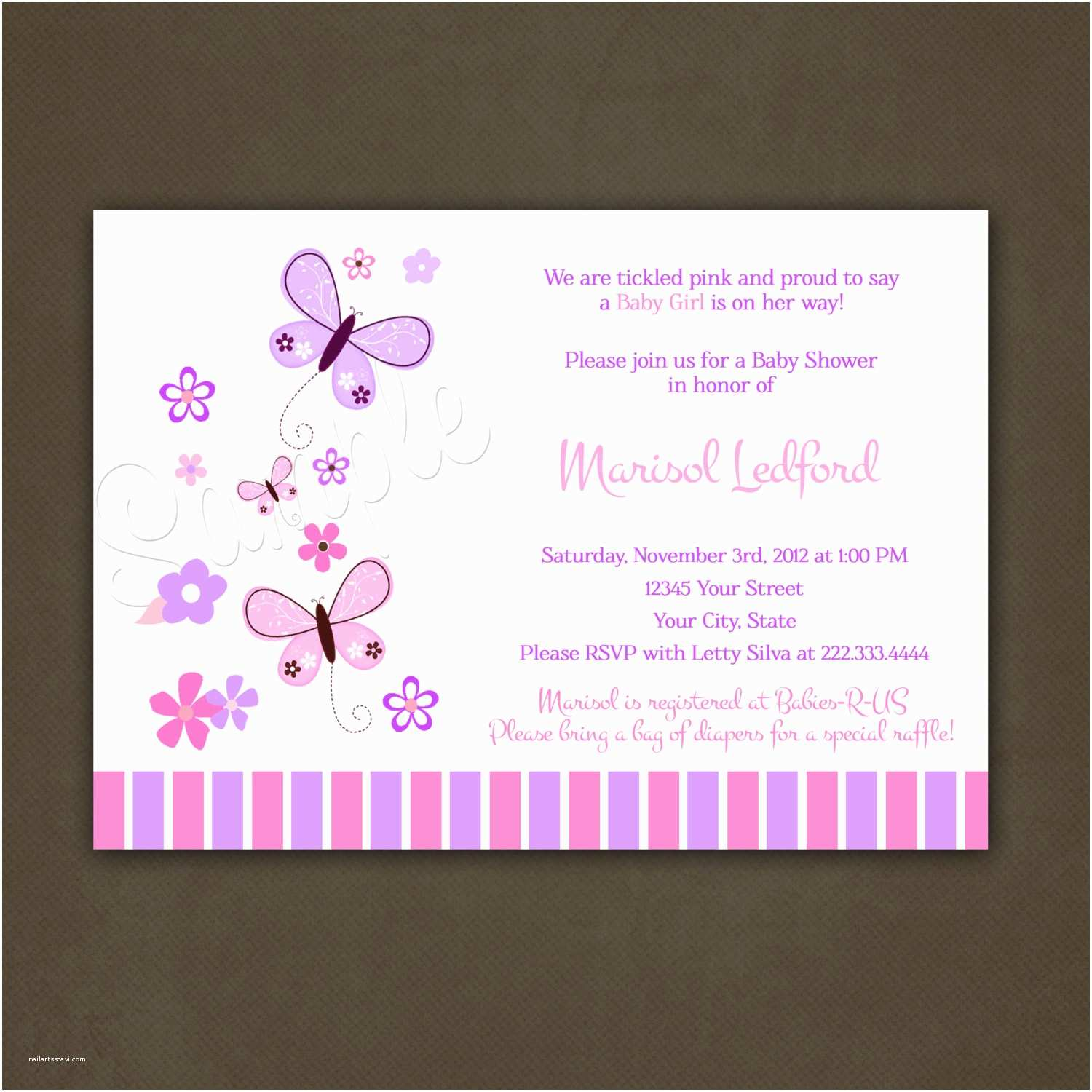 Purple butterfly Baby Shower Invitations butterflies Baby Shower Invitations Printable by