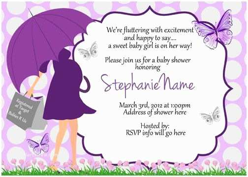 Purple butterfly Baby Shower Invitations butterfly Baby Shower Umbrella Invitations Digital Print