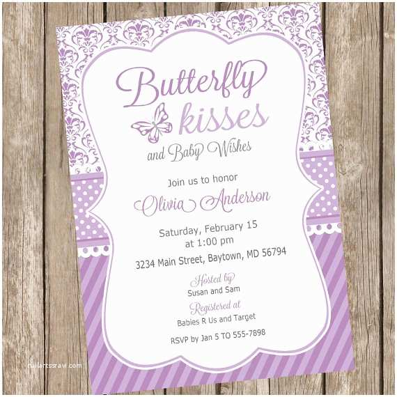 Purple butterfly Baby Shower Invitations butterfly Kisses Baby Shower Invitation butterfly Baby