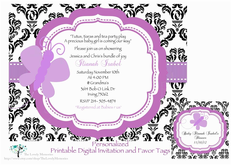 Purple butterfly Baby Shower Invitations Damask Purple butterfly Baby Shower Invitation Favor Tags Set