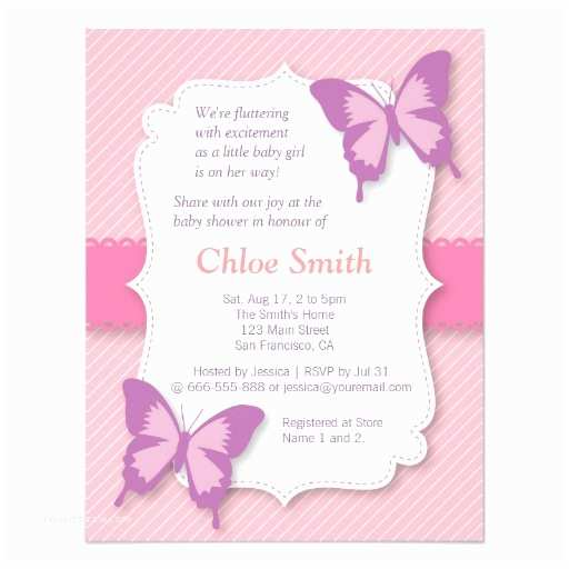 Purple butterfly Baby Shower Invitations Elegant Purple butterfly Baby Shower 4 25x5 5 Paper
