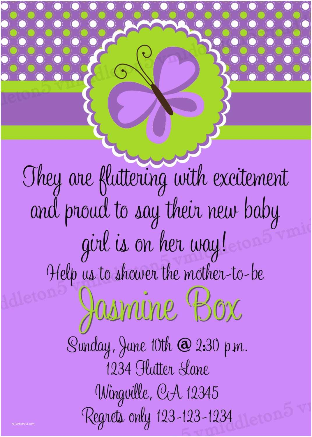 Purple butterfly Baby Shower Invitations Purple butterfly Baby Shower Invitations