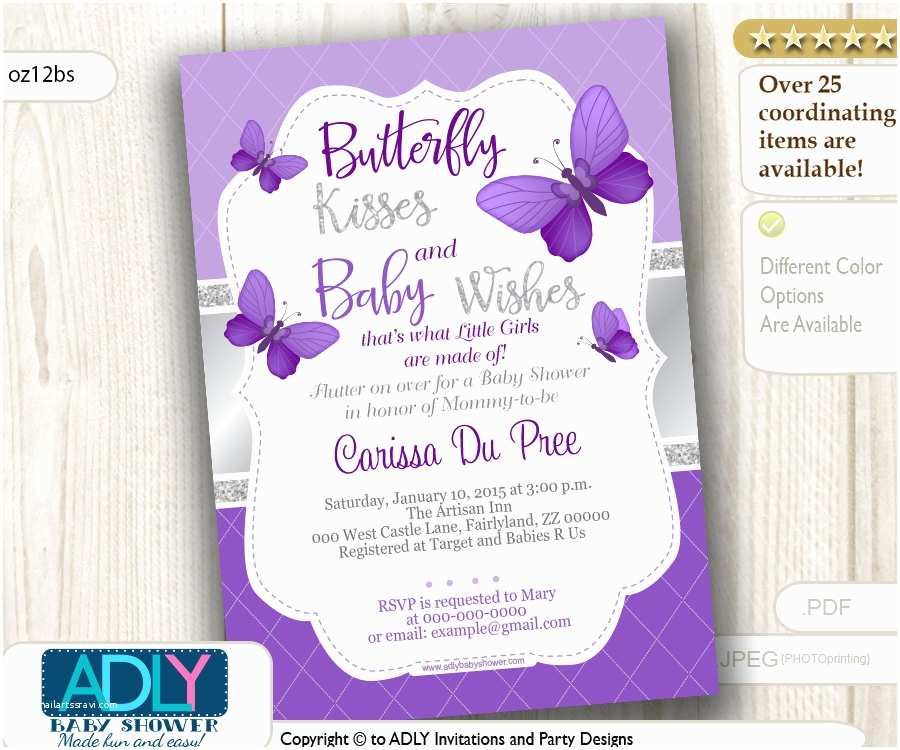 Purple butterfly Baby Shower Invitations Purple Silver butterfly Invitation for Baby Shower with Silver