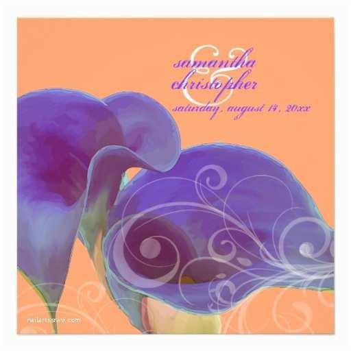 Purple Calla Lily Wedding Invitations Personalized Purple Calla Invitations