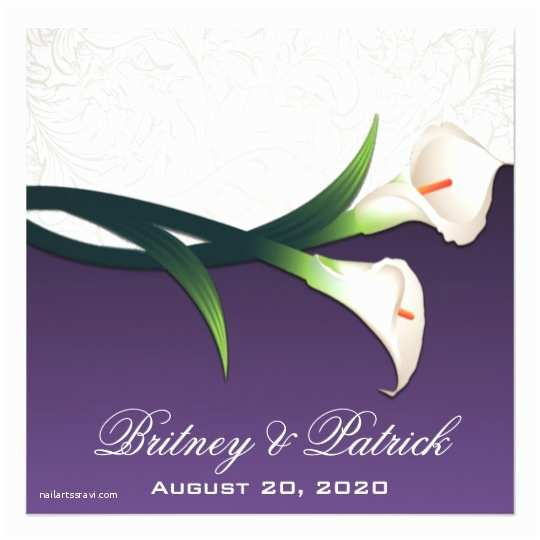 Purple Calla Lily Wedding Invitations Purple White Silver Calla Lily Wedding Invitations
