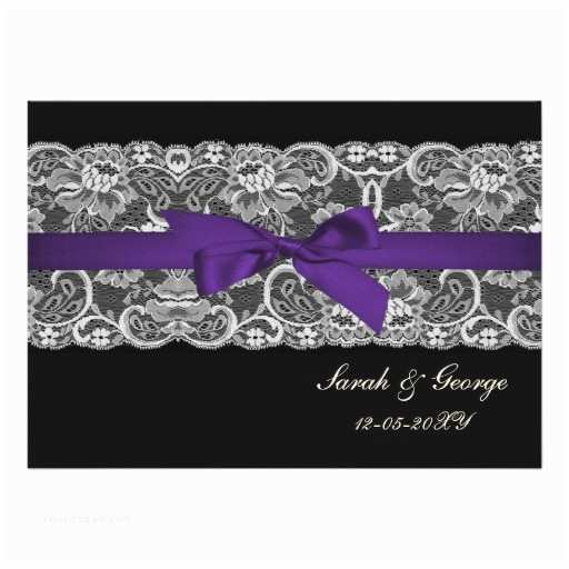 Purple Lace Wedding Invitations Faux Lace and Ribbon Purple Black Wedding Invites