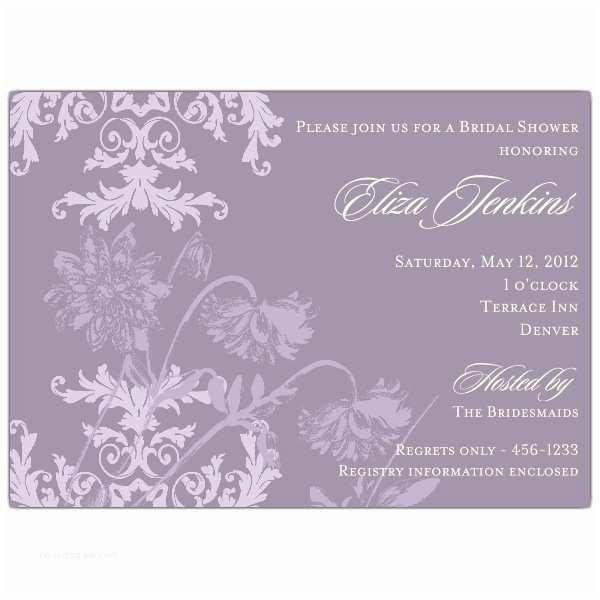 Purple Lace Wedding Invitations Floral Lace Purple Bridal Shower Invitations