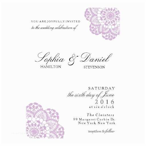 Purple Lace Wedding Invitations Lilac Purple Lace Doily Wedding Invitation