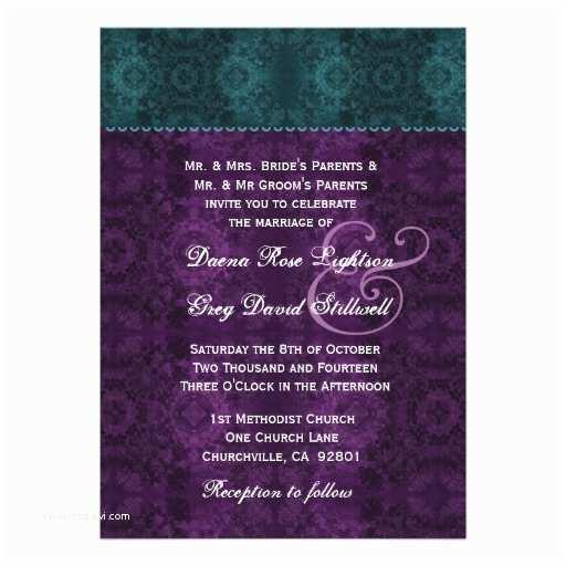 Purple Lace Wedding Invitations Purple and Teal Floral Lace Wedding D327 Custom Invitation
