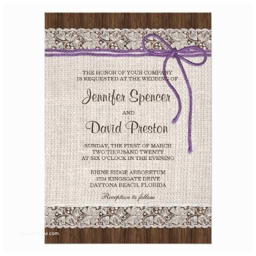 "Purple Lace Wedding Invitations Purple Rustic Wedding Invitation Burlap and Lace 4 5"" X 6"