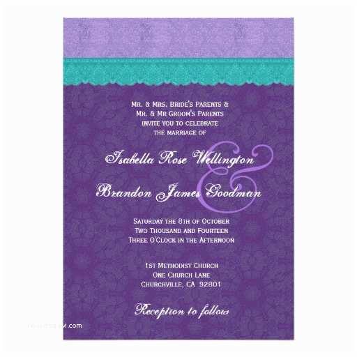 Purple Lace Wedding Invitations Royal Purple Teal Lace Wedding V10a Invites