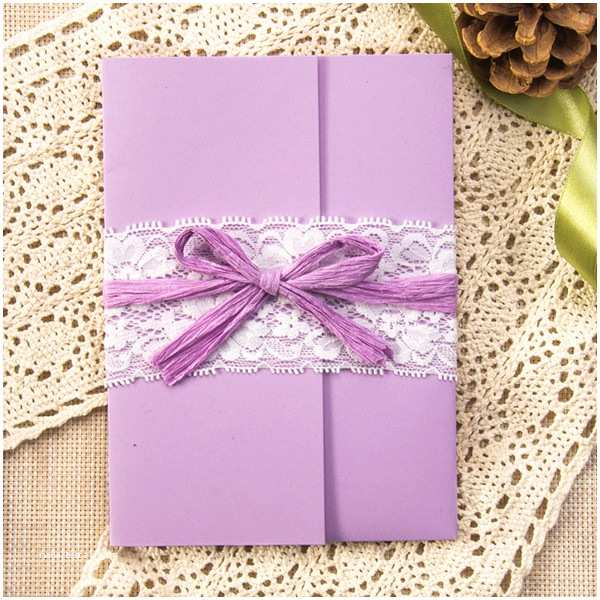 Purple Lace Wedding Invitations Rustic Purple Pocket Lace Wedding Invitation Kits