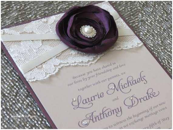 Purple Lace Wedding Invitations Sabrina Plum and Champagne Lace Wedding Invitation Purple