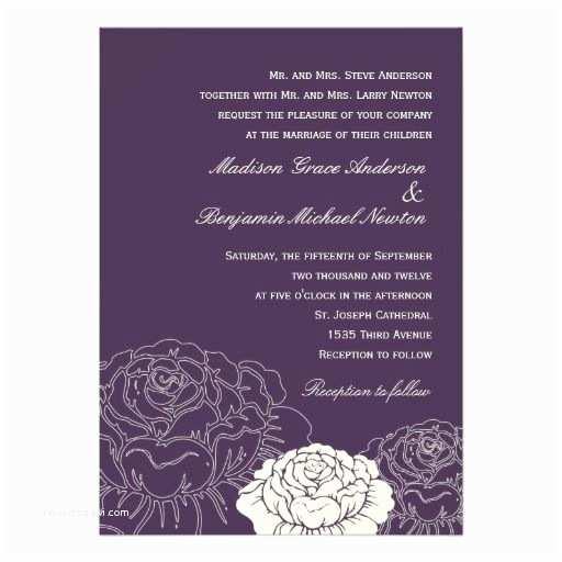 Purple Rose Wedding Invitations 17 Best Images About Rose Wedding Invitations On