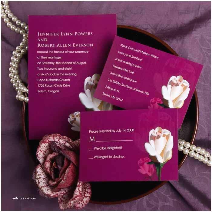 Purple Rose Wedding Invitations Elegant Purple And Pink Rose Wedding Invitations