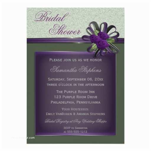 Purple Rose Wedding Invitations Elegant Purple Roses and Moss Green Bridal Shower