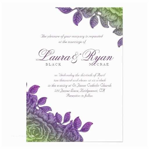 Purple Rose Wedding Invitations Elegant Vintage Wedding Purple Rose Green