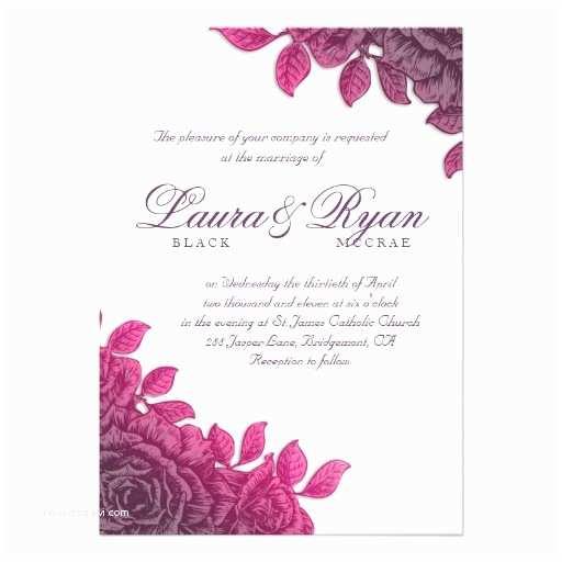 """Purple Rose Wedding Invitations Elegant Vintage Wedding Purple Rose Pink 5"""" X 7"""