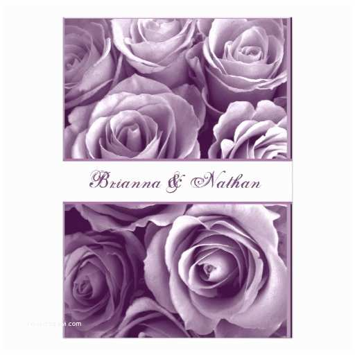 Purple Rose Wedding Invitations Lavender Purple Rose Bouquet Wedding Invitation