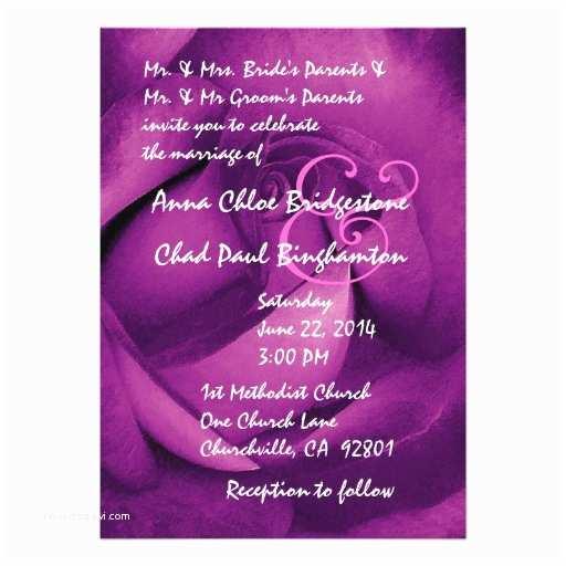 magenta purple rose wedding template r542 invitation