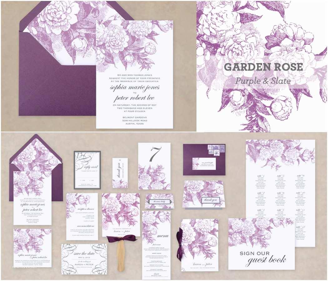 Purple Rose Wedding Invitations Printable Elegant Cottage Rose Wedding