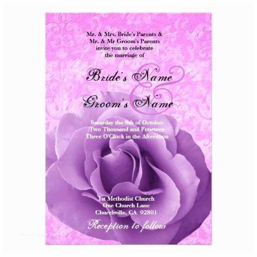 Purple Rose Wedding Invitations Purple Rose and Pink Damask Wedding Custom Invitations