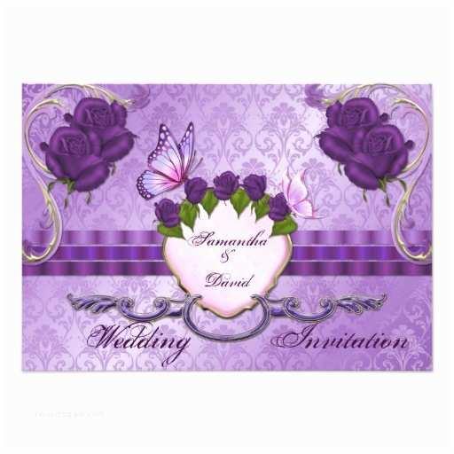 Purple Rose Wedding Invitations Purple Rose Damask Wedding Invitation Card