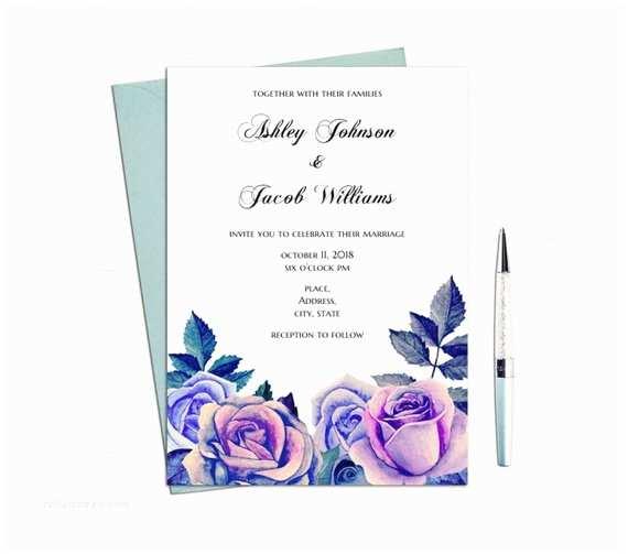 Purple Rose Wedding Invitations Purple Roses Wedding Invitation Printable Blue Flowers