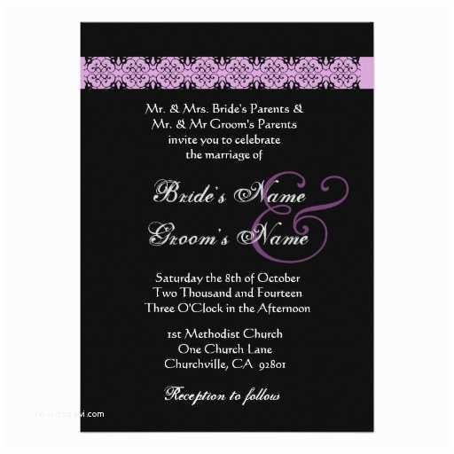 "Purple Rose Wedding Invitations Purple Silver Black Rose Wedding Invitation 5"" X"