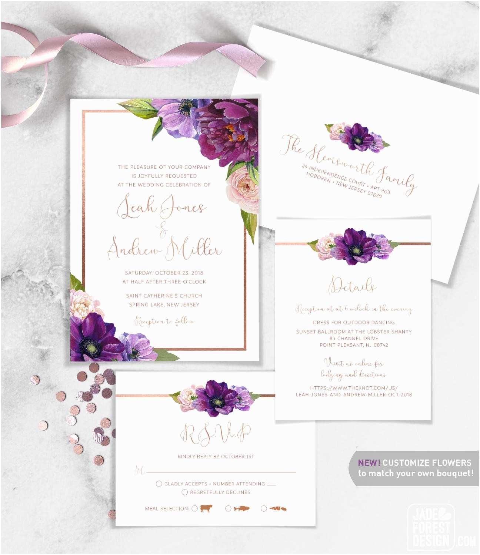Purple Rose Wedding Invitations Purple Wedding Invitation Set Purple Flowers