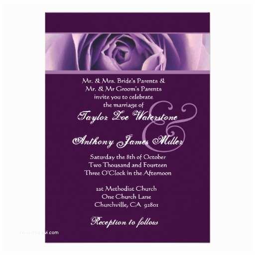 Purple Rose Wedding Invitations Rich Purple Rose Wedding Template G437 13  X 18