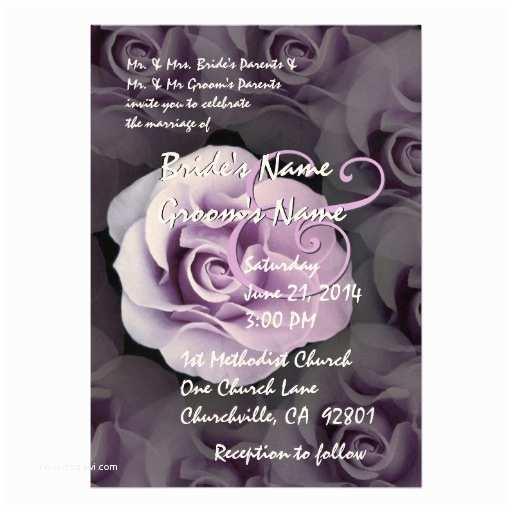 Purple Rose Wedding Invitations Shades Of Lavender Purple Rose Wedding Invitation