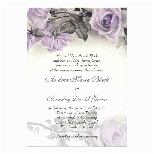 Purple Rose Wedding Invitations Sterling Silver Purple Rose Wedding Invitation