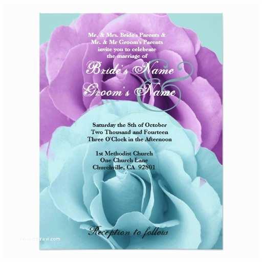 Purple Rose Wedding Invitations Turquoise Blue And Purple Rose Wedding Template 2