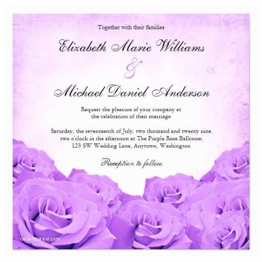 Purple Rose Wedding Invitations Vintage Purple Rose Wedding Personalized Invitations