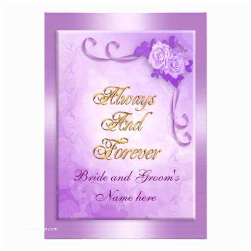 "Purple Rose Wedding Invitations Wedding Invitation Purple Rose 5"" X 7"" Invitation"