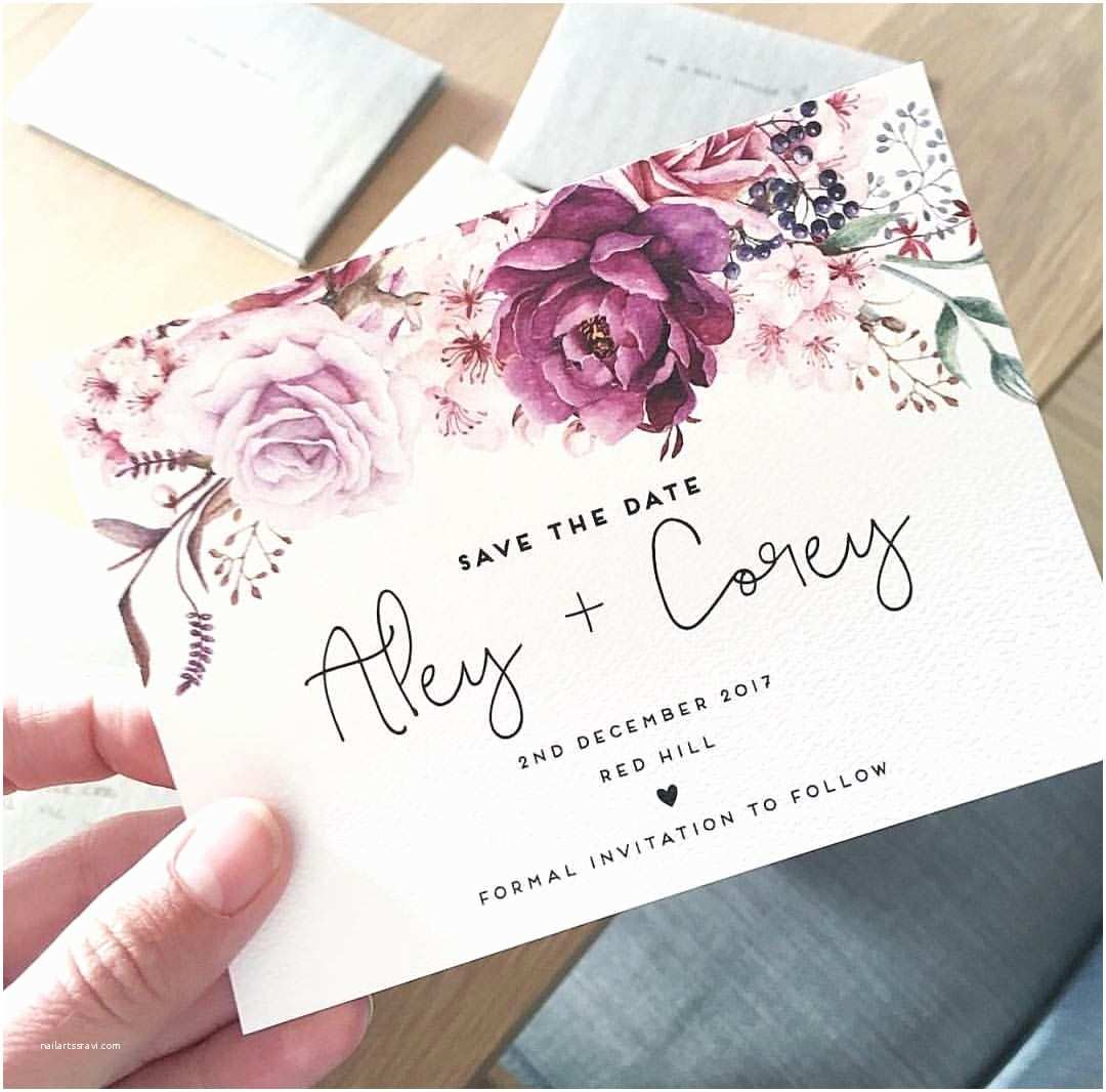 Purple Rose Wedding Invitations Wedding Save The Date Card The Jenny Design Ink