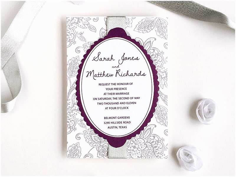 Purple Silver and Black Wedding Invitations 3 Diy Wedding Invitations Using An Elegant Matelasse Print