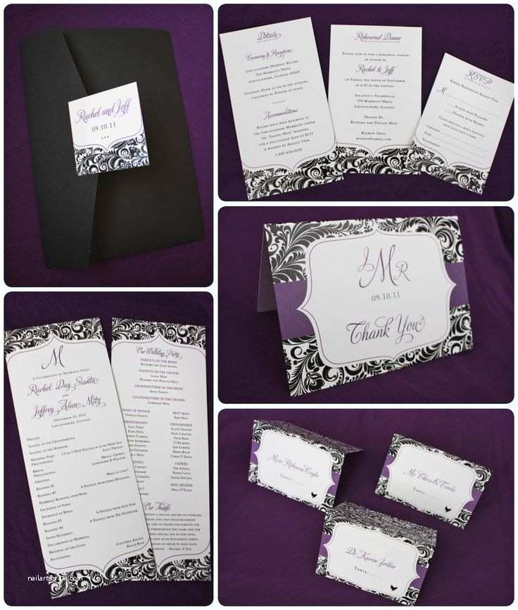 Purple Silver and Black Wedding Invitations Best 25 Purple Black Wedding Ideas On Pinterest
