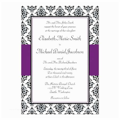Purple Silver and Black Wedding Invitations Black and Purple Damask Wedding Invitation